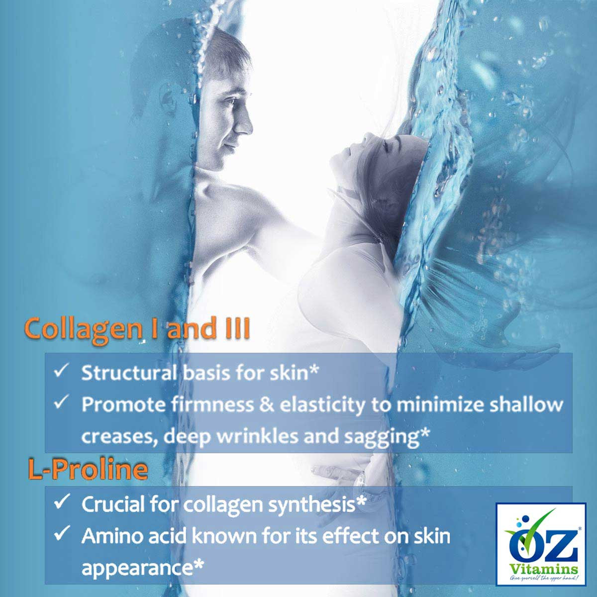Oz Vitamins Better Skin contains Collagen I and III 6000mg/day which are the structural basis for skin. Collagen promotes firmness & elasticity to minimize shallow creases, deep wrinkles and sagging. Oz Vitamins Better Skin contains L-Proline 300mg/day which is crucial for collagen synthesis. L-Proline is an amino acid known for its effect on skin appearance.