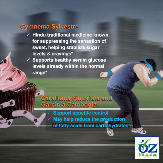 Oz Vitamins Better Weight contains Gymnema Sylvestre 800mg/day which is a Hindu traditional medicine known for suppressing the sensation of sweet and helping stabilize sugar levels & cravings. Gymnema Sylvestre supports healthy serum glucose levels already within the normal range. Oz Vitamins Better Weight contains Caralluma Fimbriata 1000mg/day and Garcinia Cambogia 3000mg/day to support appetite control and may help reduce the production of fatty acids from carbohydrates.