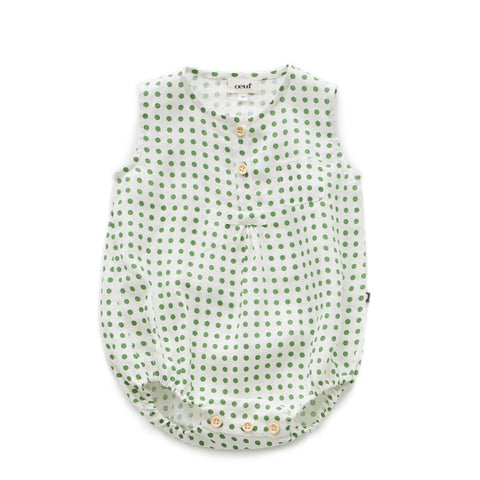 Pocket Romper Green Dots