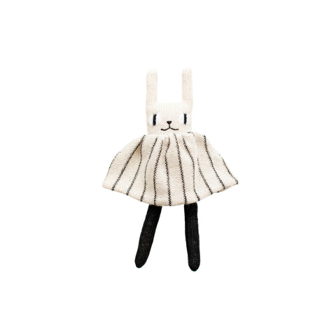 Rabbit knit toy, black and white - WIIKWAM