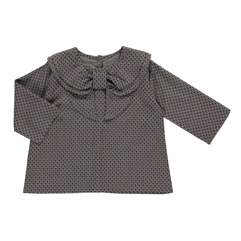 Skjorte, Anais, grey with black flower print - WIIKWAM