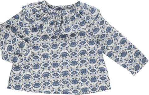 Skjorte, MARTHA, blue/grey flower print - WIIKWAM