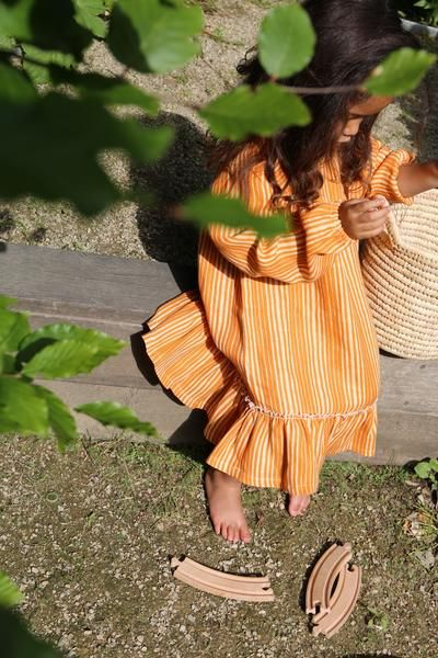 Linen ruffle dress, Ava, canyon clay - WIIKWAM