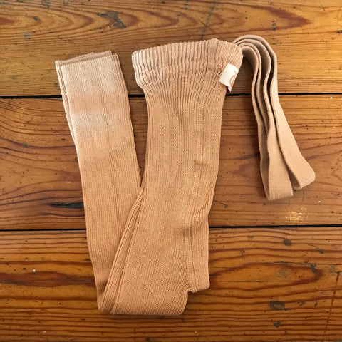 Ribbed footless tights with braces, light brown