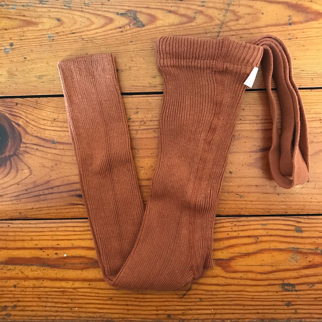 Ribbed footless tights with braces, cinnamon