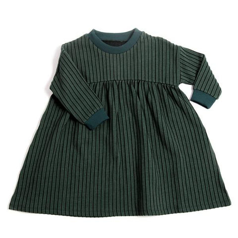 Stripe dress, økologisk bomuld, Emerald - WIIKWAM
