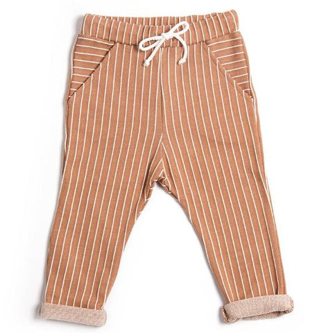 Stripe pocket pants, økologisk bomuld, Terracotta - WIIKWAM