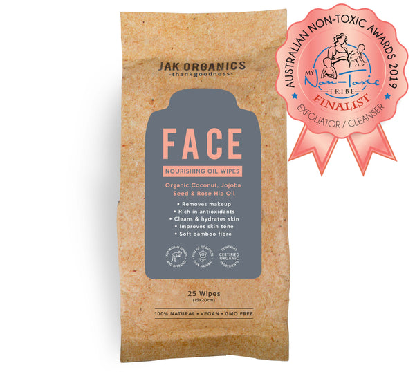 FACE Wipes - Coconut Oil, Rose Hip Oil & Jojoba Seed Oil