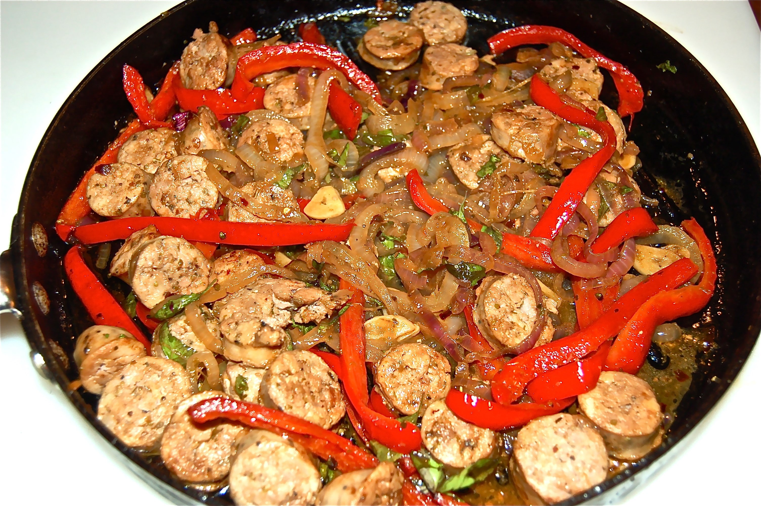 Sausage, pepper and onion