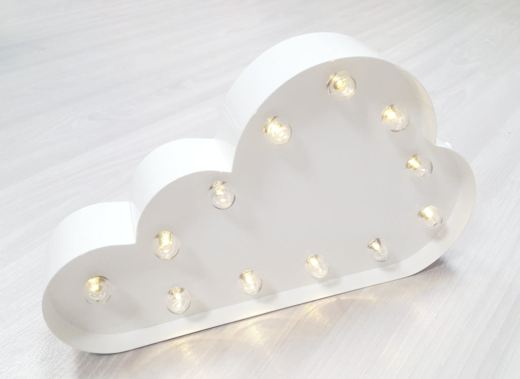 "12"" CLOUD WHITE SIGN METAL MARQUEE"