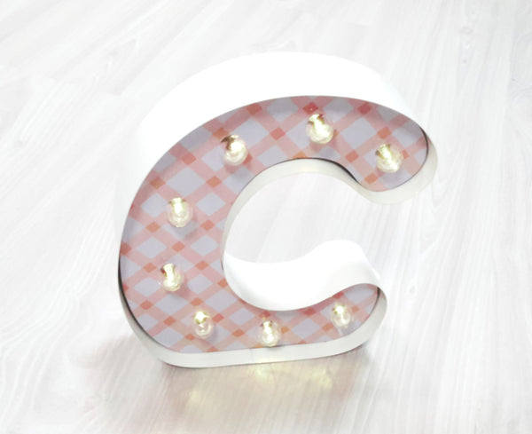 "9"" (C) KIDS METAL MARQUEE LIGHT UP LETTER"