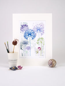 Agapanthus Wood Reproduction Print