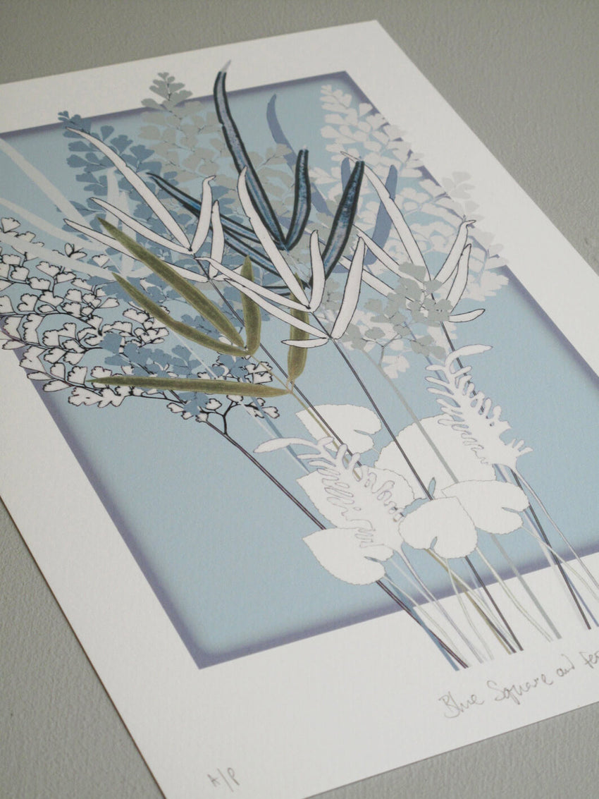 Blue Square and Ferns Print
