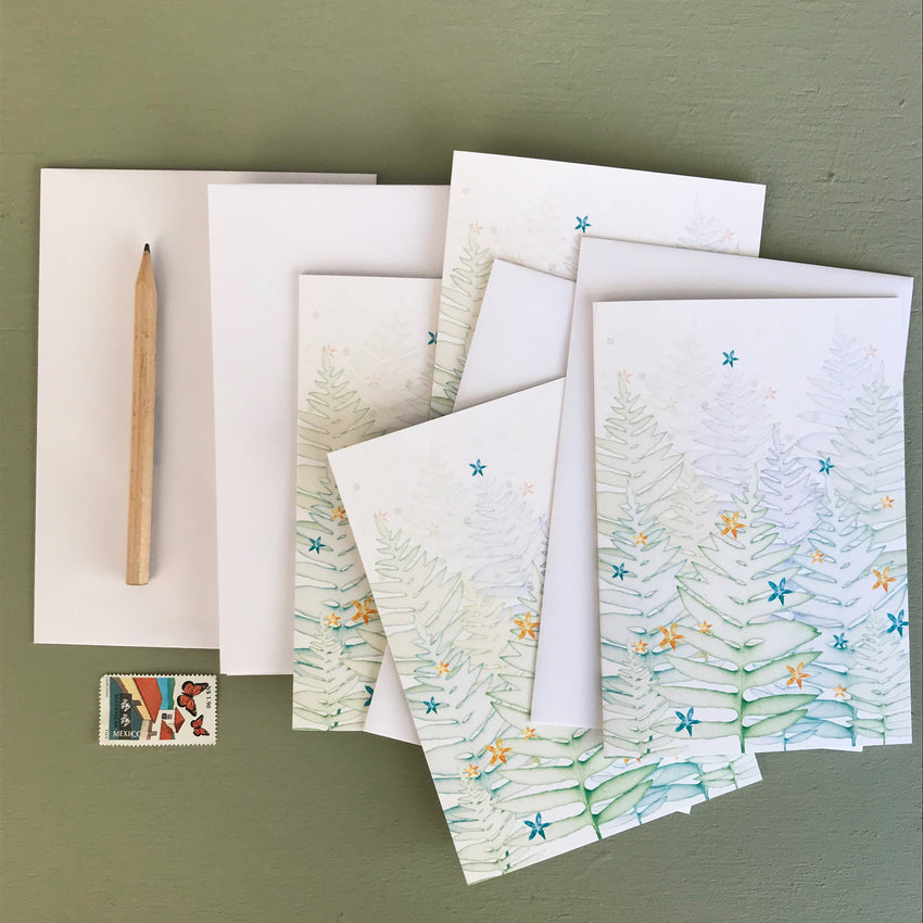 Christmas Trees Notelet Set