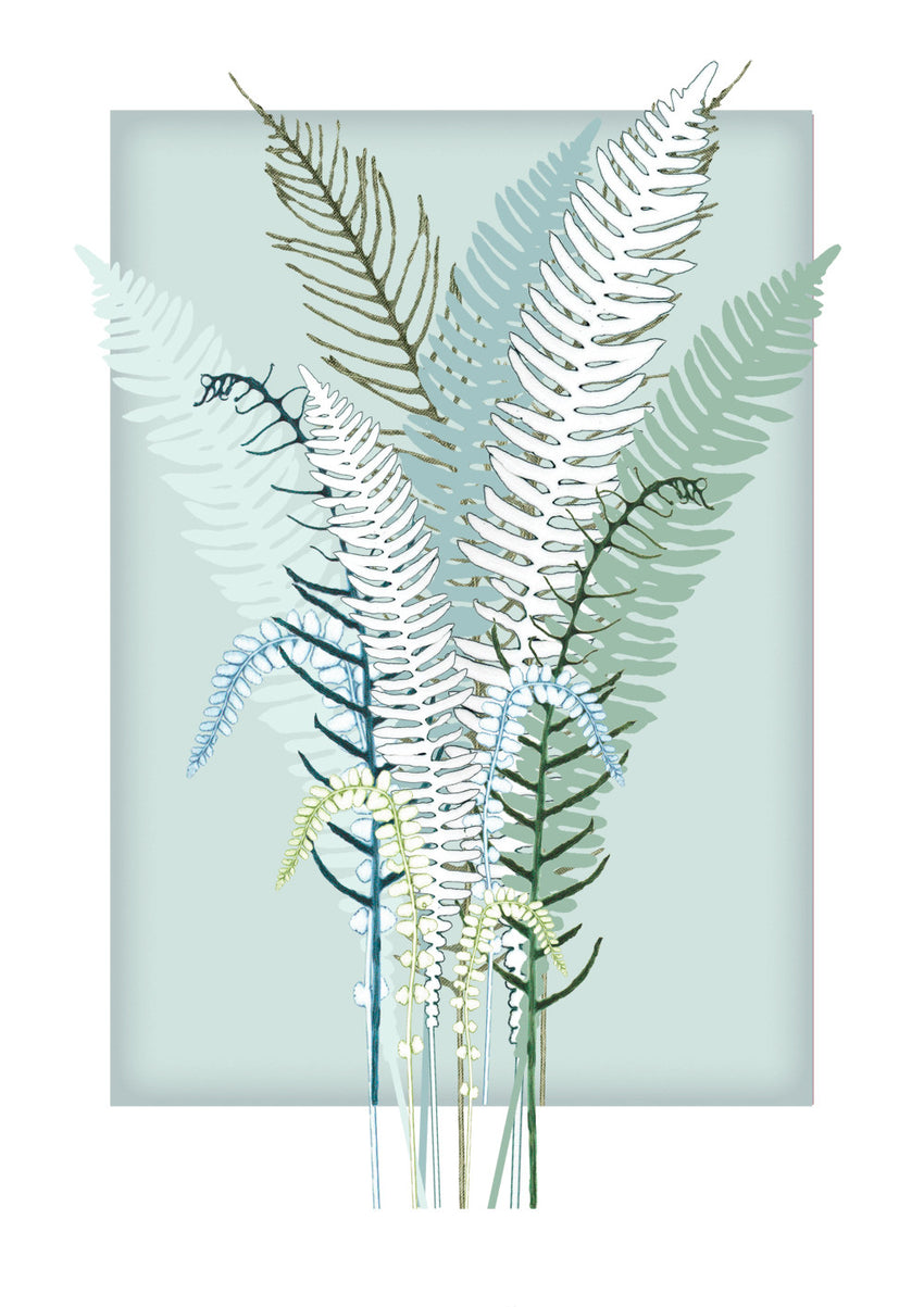 Teal Square and Ferns Print