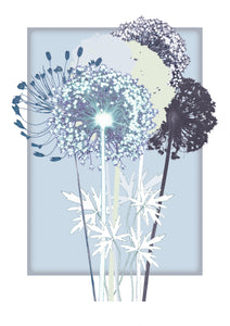 Blue allium giclee print wall art print