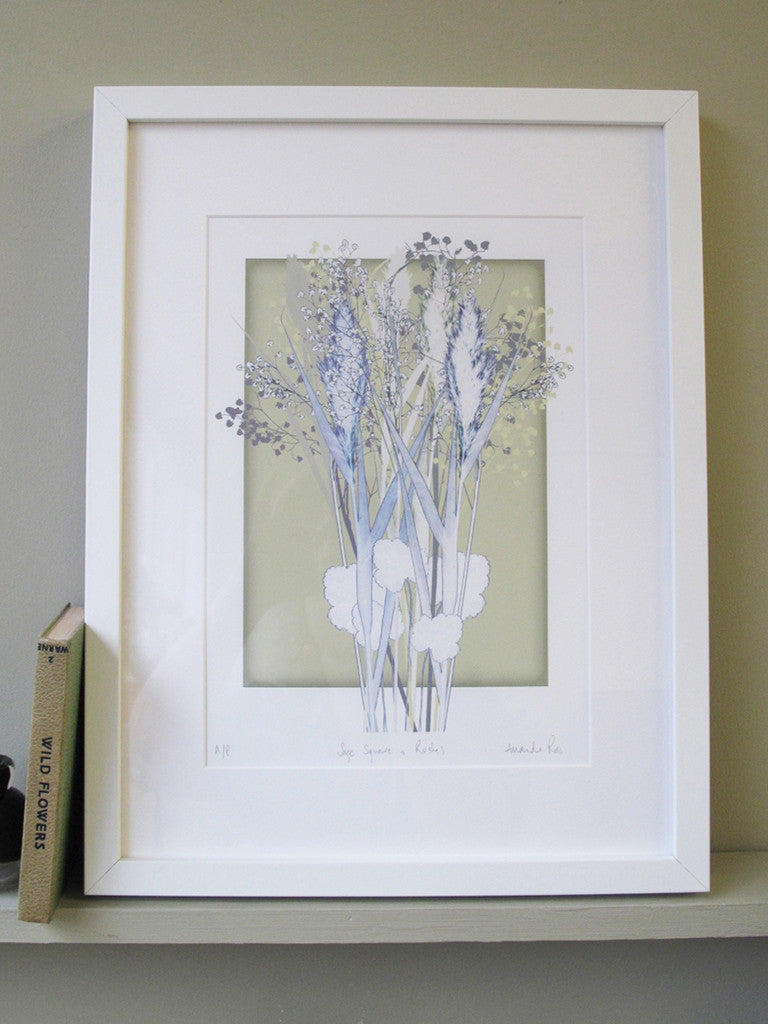 Sage Square and Rushes Print