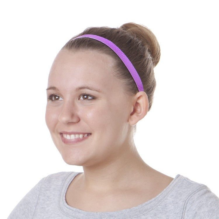 Hipsy Adjustable Non-Slip Neon Snakeskin Purple Skinny Headband