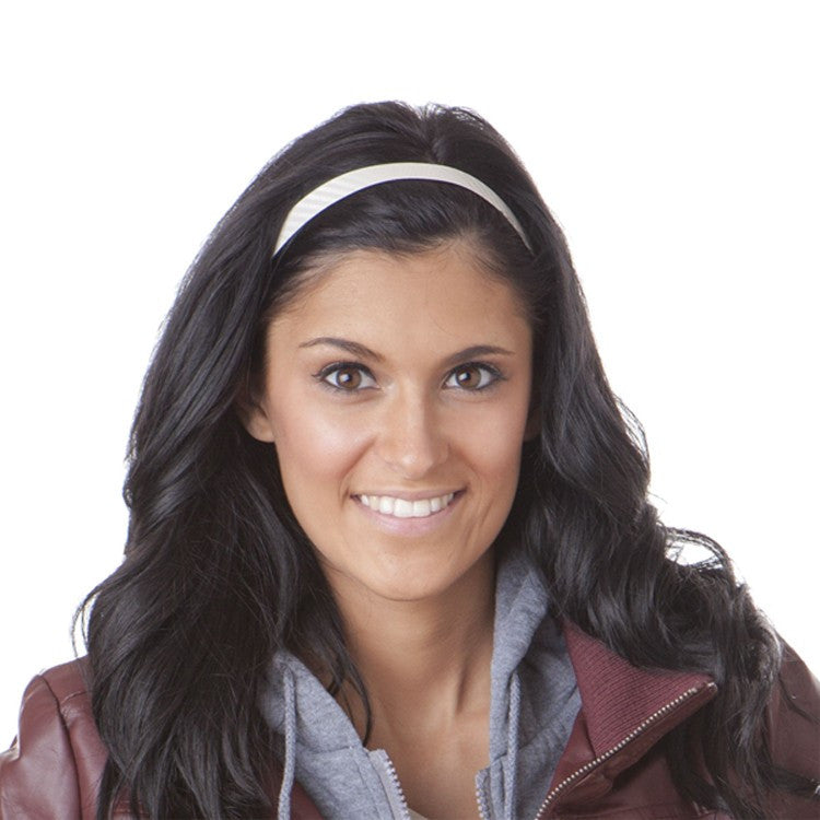Hipsy Adjustable Non-Slip Skinny Headband White Tech Sport