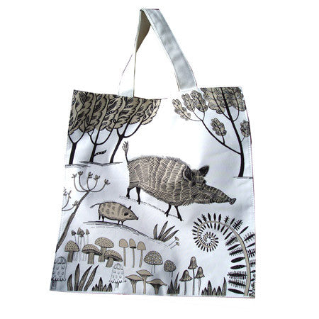 Lush Designs Cotton bag with print of brown wild boars and mushrooms