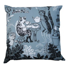 Lush Designs cotton canvas cushion with cat design in blue-grey and black