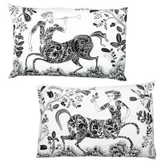 Lush designs cotton pillow cases with decorative print of centaurs in a flowery setting, black and white.