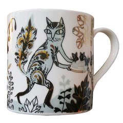 Lush Designs bone china cat design mug with gold lustre detail.  Made in England