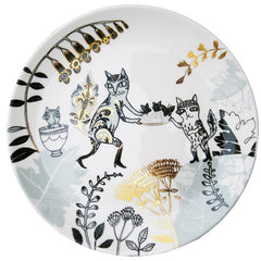 Lush Designs Bone china tea plate with light blue and black design of cats in boots embellished with gold lustre