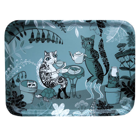 Melamine faced birch-ply, teal and blue-grey tray with illustration of cats drinking tea in the garden