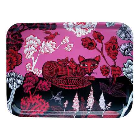 Fox and cubs print tray in pink, red and black