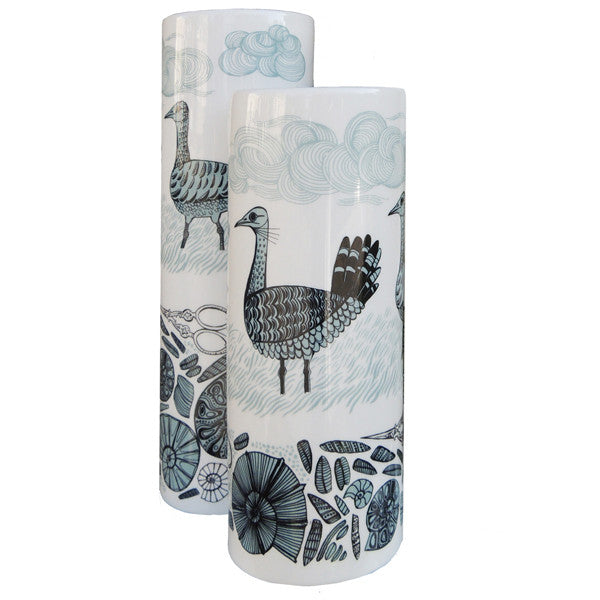 Lush Designs ceramic cylindrical vase with Great Bustard print in blue.  Made in England