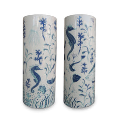 Lush Designs Cylindrical ceramic vase with seahorses, fish and jellyfish printed in shades of blue