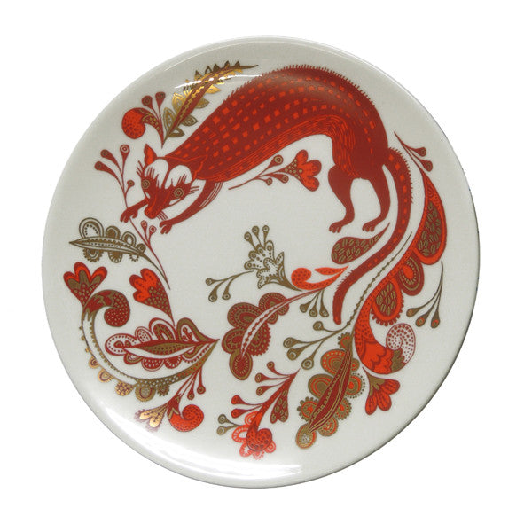 Lush Designs bone china plate decorated with burnt orange and gold lustre design of Palm Civet
