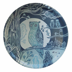 Circular melamine-faced birch-ply tray printed with owl design featuring Greenwich Observatory in shades of blue