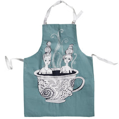 Lush designs apron printed with two ladies bathing in a cup of tea in light teal blue.