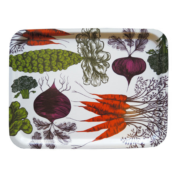 Lush Designs vegetable print tray  with orange carrots, green veg and purple beetroot on a white background
