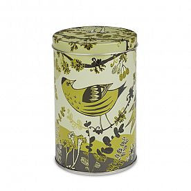 Lush Designs small tin with green yellow bird print