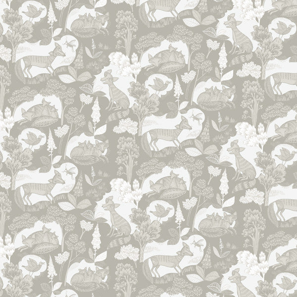 Fox & Cubs wallpaper - Cream/grey