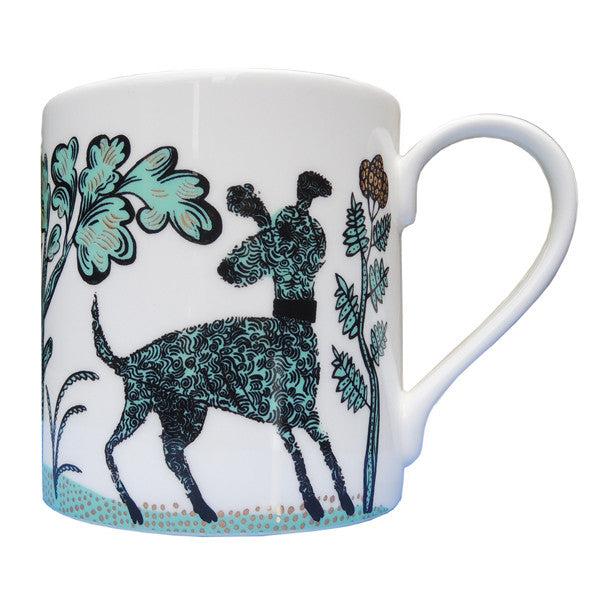 Lush designs Bone china mug with turquoise and black design of dogs and plants