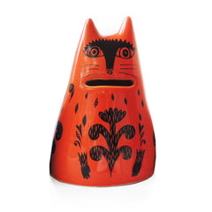 Lush Designs Orange red ceramic cat-shaped money bank with printed black patterns, coin slot for mouth