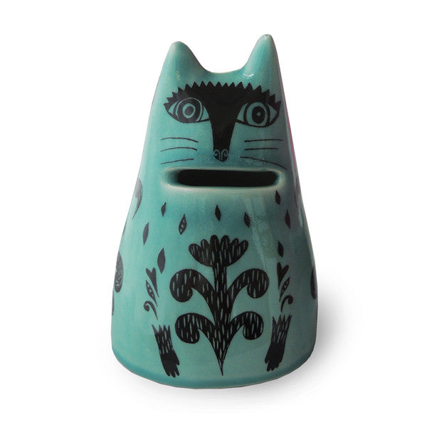 Lush Designs blue-green glazed ceramic money bank in the shape of a cat with a slot for the mouth