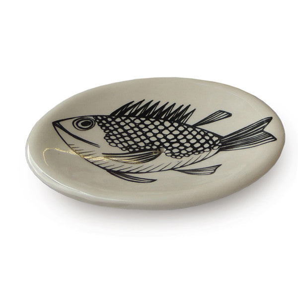 Lush Designs earthenware soap dish in cream printed with black drawing of a fish