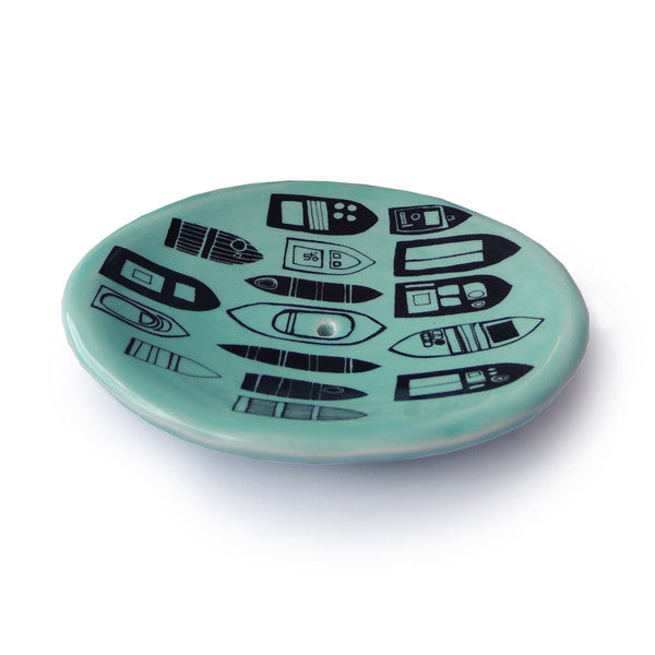 Lush Designs turquoise glazed soap dish with boat print in black