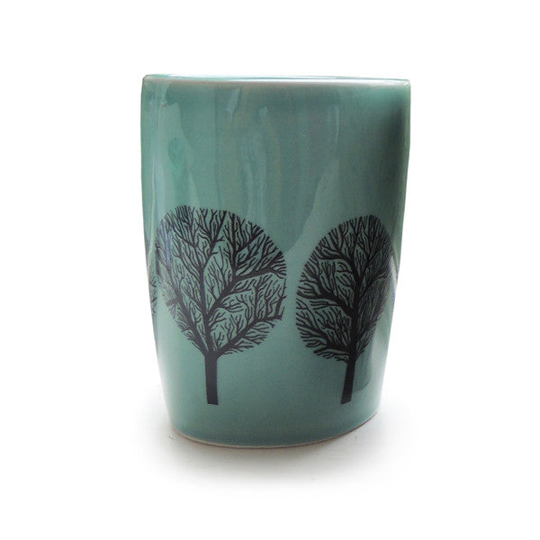 Bathroom Beaker Blue Trees