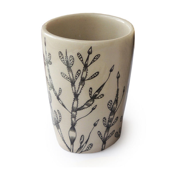 Lush Design small, ceramic beaker with cream glaze and pattern of water-weed.  Made in Staffordshire