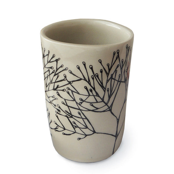 Lush Designs Cream-coloured ceramic beaker with drawn design of water plants, made in Staffordshire