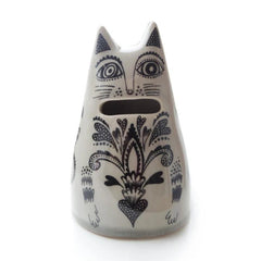 Lush Designs off-white cat-shaped money bank with coin-slot mouth and decorative black print