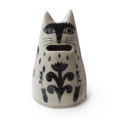 Lush designs cream and black cat-shaped ceramic money bank