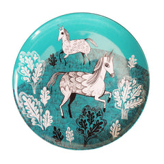 Lush Designs Melamine plate with turquoise unicorn design