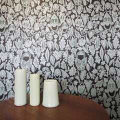 Lovelocks wallpaper in dark grey silver and teal